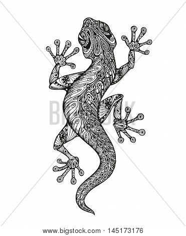 Ethnic ornamented salamander. tattoo. Vintage graphic vector illustration