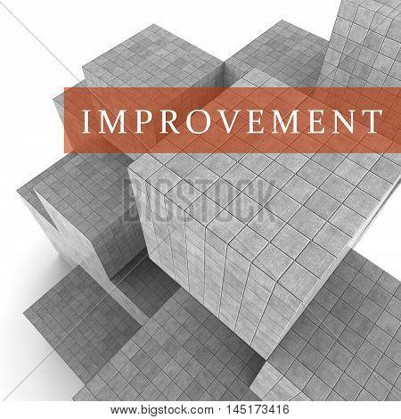 Improvement Words Shows Progress Upgrade 3D Rendering