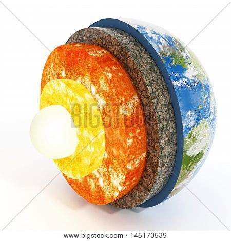 Layers of earth isolated on white background. 3D illustration.