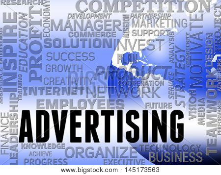 Advertising Word Shows Promote Advertisments And Ads