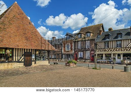 Historical half timbered houses in Beuvron-en-Auge France