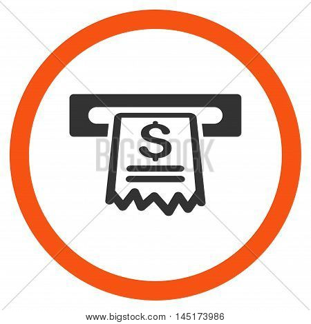 Cashier Receipt vector bicolor rounded icon. Image style is a flat icon symbol inside a circle, orange and gray colors, white background.