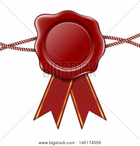 Vector illustration of red wax seal with ribbons