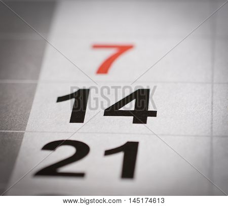 close up black white fourteen calendar number