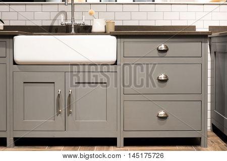 Grey Gray Luxury Bespoke Kitchen Sink with Porcelain Sink