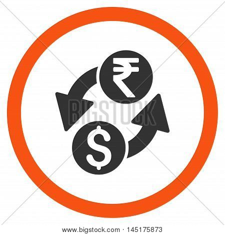 Dollar Rupee Exchange vector bicolor rounded icon. Image style is a flat icon symbol inside a circle, orange and gray colors, white background.