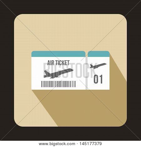 Airline boarding pass ticket icon in flat style isolated with long shadow