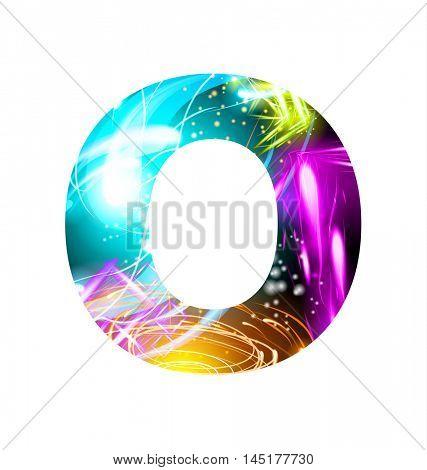 Glowing Light effect neon Font. Firework Color Design Text Symbols. Shiny letter O