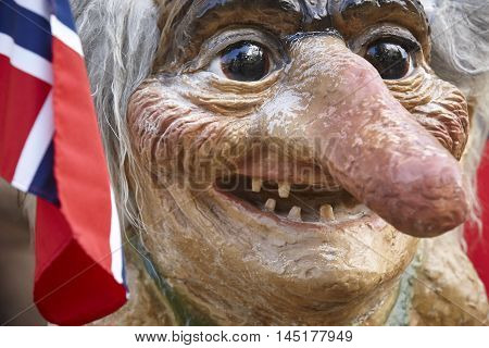 Norway. Troll head with norwegian flag. Scandinavian symbol. Horizontal