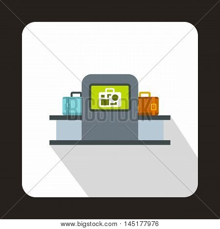 Airport baggage security scanner icon in flat style isolated with long shadow