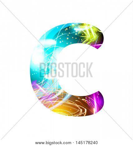 Glowing Light effect neon Font. Firework Color Design Text Symbols. Shiny letter C