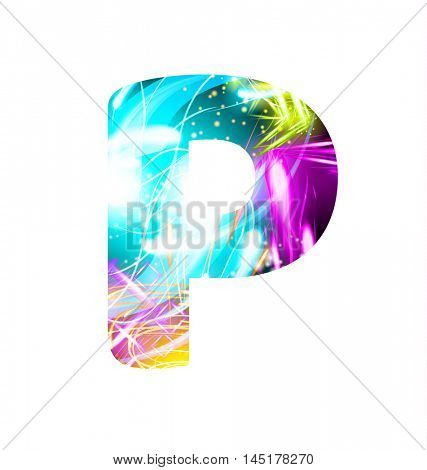 Glowing Light effect neon Font. Firework Color Design Text Symbols. Shiny letter P