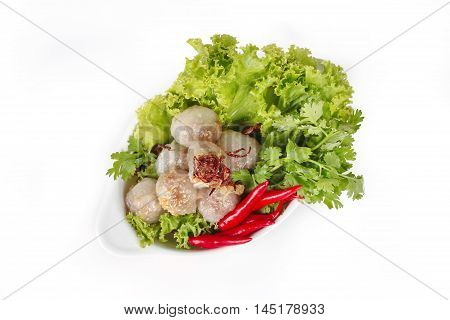 Steamed sago with pork and mixed vegetable on white background.