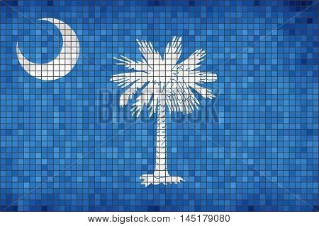 Abstract Mosaic flag of South Carolina - illustration,  The flag of the state of South Carolina,  South Carolina grunge mosaic flag