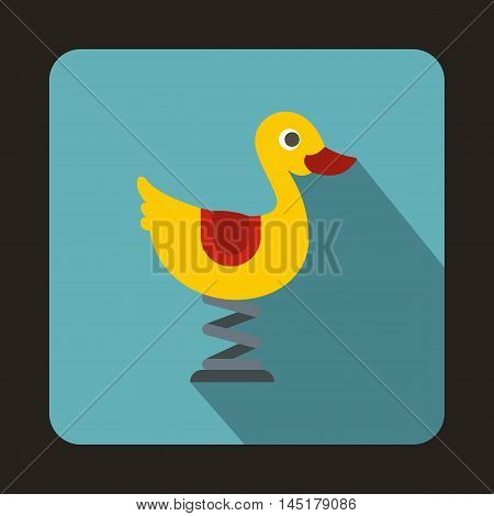 Yellow duck ride playground equipment in a childrens playground icon in flat style isolated with long shadow