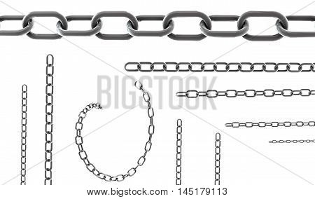 Seamless chains isolated on white background for continuous replicate - realistic 3D render illustration.