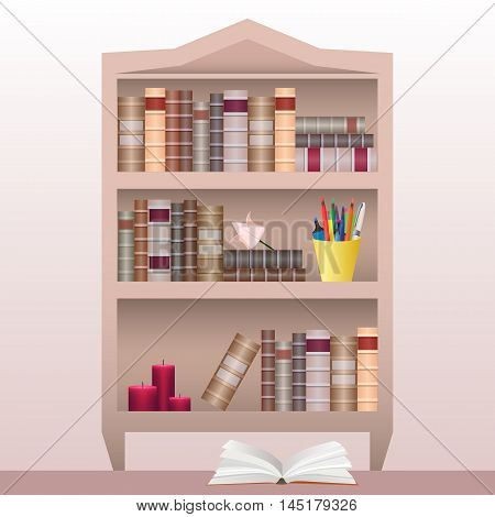 Bookshelf with books, stationery and  candles. Vector element for your creativity