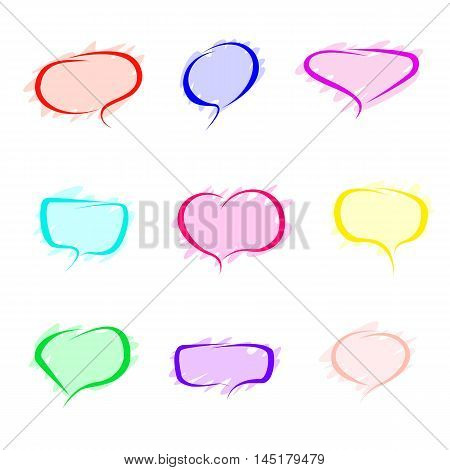Set of speech bubbles simplified shaded pastel colors with richer colors stroke