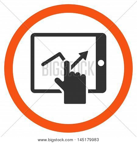 Tap Trend on Pda vector bicolor rounded icon. Image style is a flat icon symbol inside a circle, orange and gray colors, white background.