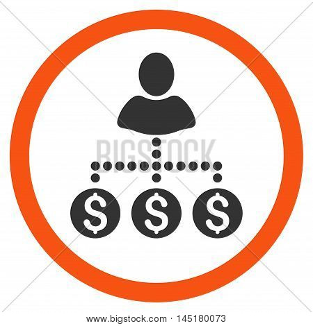 User Payments vector bicolor rounded icon. Image style is a flat icon symbol inside a circle, orange and gray colors, white background.