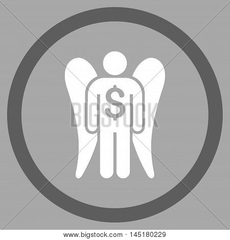 Angel Investor vector bicolor rounded icon. Image style is a flat icon symbol inside a circle, dark gray and white colors, silver background.