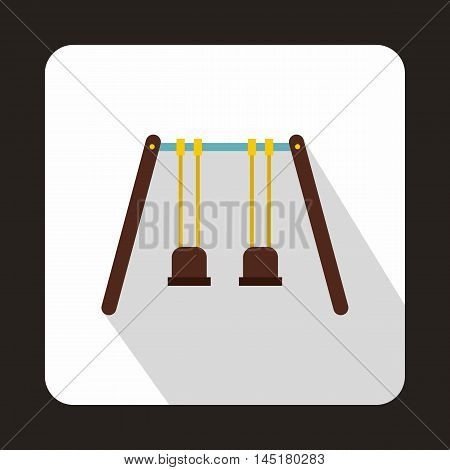 Wooden swings hanging on ropes icon in flat style isolated with long shadow