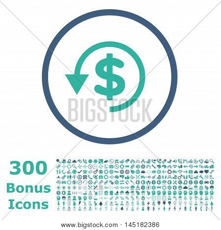 Chargeback rounded icon with 300 bonus icons. Vector illustration style is flat iconic bicolor symbols, cobalt and cyan colors, white background.