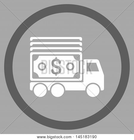 Cash Lorry vector bicolor rounded icon. Image style is a flat icon symbol inside a circle, dark gray and white colors, silver background.