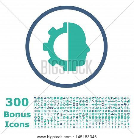 Cyborg Gear rounded icon with 300 bonus icons. Vector illustration style is flat iconic bicolor symbols, cobalt and cyan colors, white background.