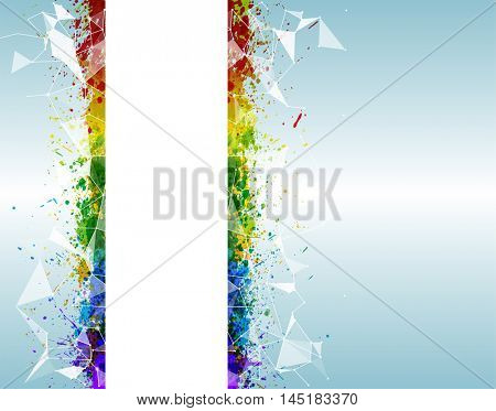 Paint splashes triangular background for poster. Abstract triangular and futuristic background with vibrant colors