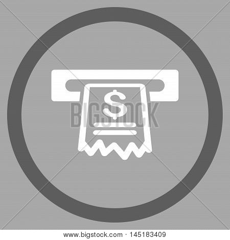 Cashier Receipt vector bicolor rounded icon. Image style is a flat icon symbol inside a circle, dark gray and white colors, silver background.