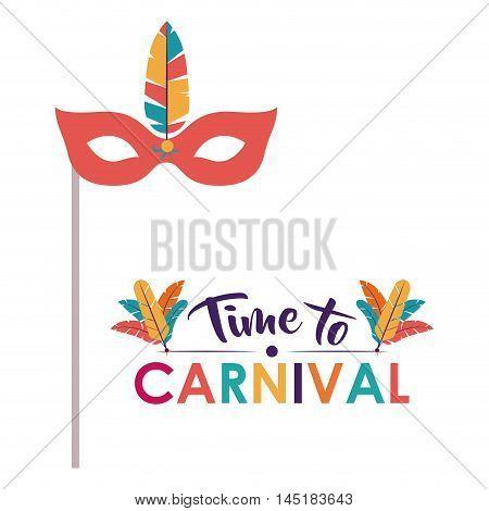mask feather carnival festival circus fair celebration  icon. Colorful design. Vector illustration