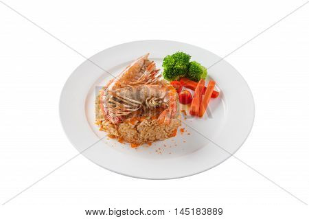 Front view of Modern thai style shrimp fried rice with river prawn in ceramic dish isolated on white background