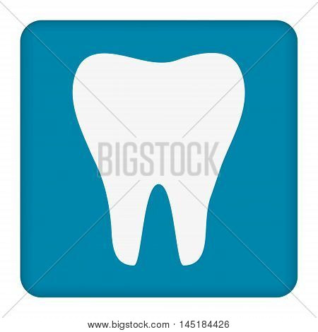 Tooth icon. Healthy tooth. Oral dental hygiene. Children teeth care. Tooth health. Blue background. Flat design. Vector illustration.