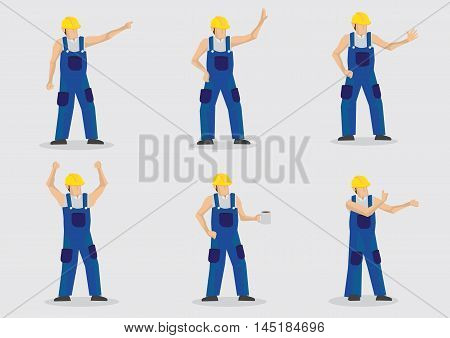 Set of six vector illustrations of cartoon construction worker wearing yellow protective work helmet and blue overall in various gestures isolated on plain background.