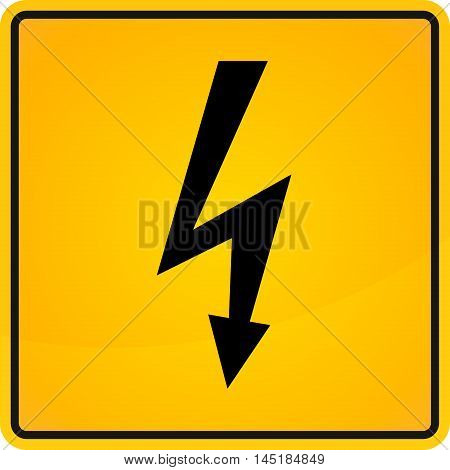 Vector illustration label electricity hazard.in yellow and black colors