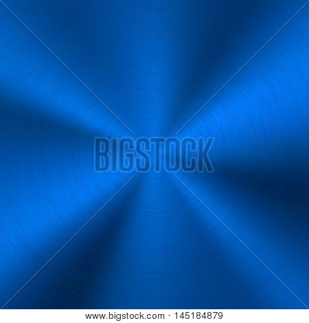 Blue metal technology background with abstract polished, brushed circular metal texture, chrome, silver, steel, for design concepts, web, posters and prints. Vector illustration.