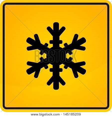 Cold warning sign snow warning - yellow square sign vector illustration.