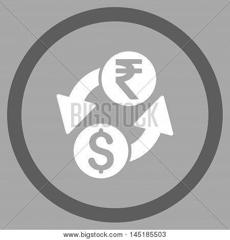 Dollar Rupee Exchange vector bicolor rounded icon. Image style is a flat icon symbol inside a circle, dark gray and white colors, silver background.