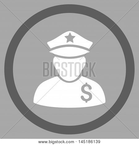 Financial Policeman vector bicolor rounded icon. Image style is a flat icon symbol inside a circle, dark gray and white colors, silver background.