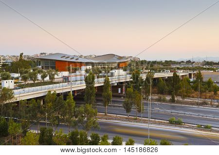 ATHENS, GREECE - AUGUST 28, 2016: One of Olympic stadiums as seen from Stavros Niarchos Foundation Cultural Center, Athens on August 28, 2016.