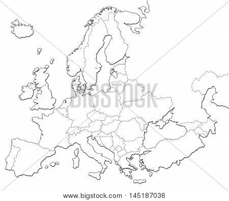 Blank map of Europe isolated on white background.