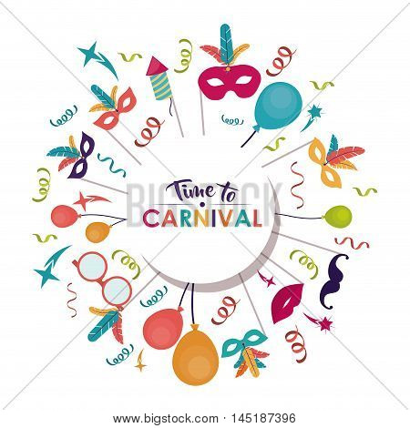 streamer balloons mouth mask feather carnival festival circus fair celebration  icon. Colorful design. Vector illustration