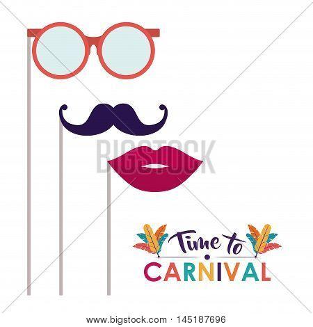 glasses mustache mouth carnival festival circus fair celebration  icon. Colorful design. Vector illustration