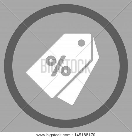 Percent Discount Tags vector bicolor rounded icon. Image style is a flat icon symbol inside a circle, dark gray and white colors, silver background.