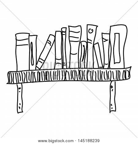 Doodle Sketch Of A Bookshelf On White Background