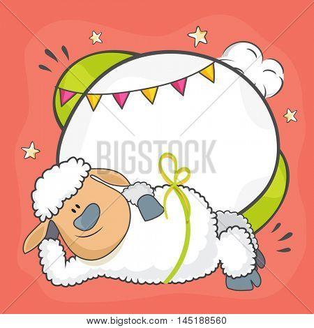Illustration of a funny Baby Sheep for Muslim Community, Festival of Sacrifice, Eid-Al-Adha Mubarak.
