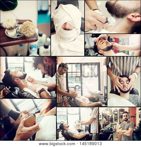 Collage of images about the traditional ritual of shaving beard in a old style barber shop.