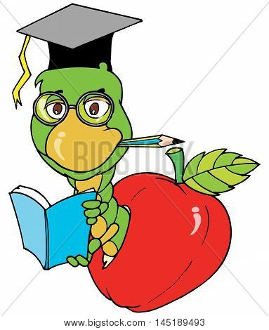 illustration cartoon of a worm as a Bookworm character in colorful vector.