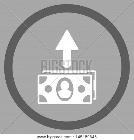 Spend Banknotes vector bicolor rounded icon. Image style is a flat icon symbol inside a circle, dark gray and white colors, silver background.